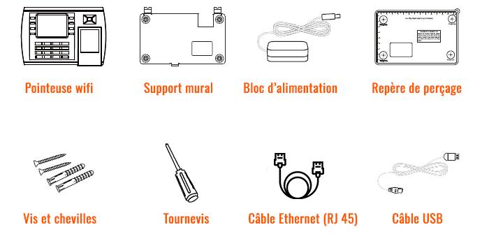 Pointeuse Badgeuse Wifi : contenu de la boite