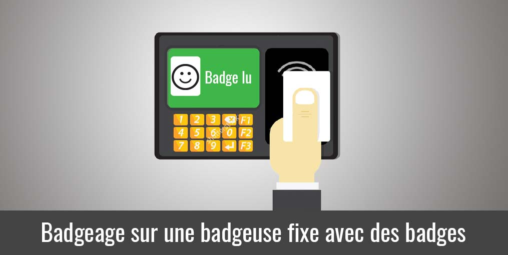 Badgeage sur badgeuse fixe avec badges