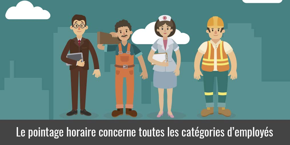 Pointage heure travail : personnel qui pointe